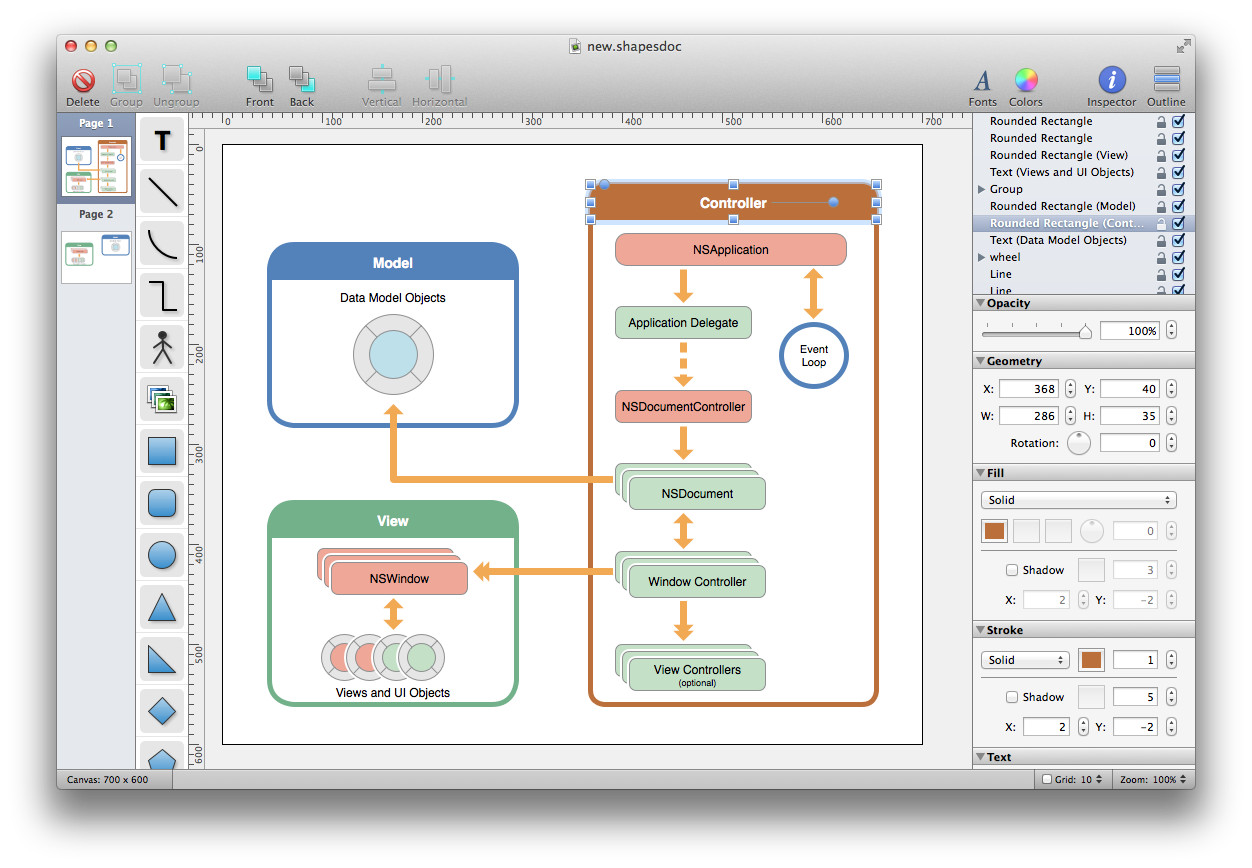 screen1_large shapes a simple, yet powerful diagram and flowchart app for mac os x